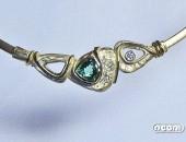 Girocollo oro giallo con tormalina e diamante | Negri Gioielli Roma 100% Artigianali | handmade jewellery