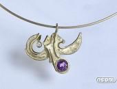 Girocollo oro giallo con ametista e diamante | Negri Gioielli Roma 100% Artigianali | handmade jewellery