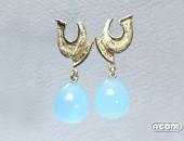 Orecchini oro giallo con calcedonio | Negri Gioielli Roma 100% Artigianali | handmade jewellery