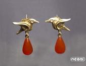 Orecchini oro giallo con corniola e diamanti | Negri Gioielli Roma 100% Artigianali | handmade jewellery