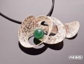 Pendente argento con agata verde | Negri Gioielli Roma 100% Artigianali | handmade jewellery