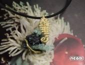 Pendente oro giallo con acquamarina e egirina | Negri Gioielli Roma 100% Artigianali | handmade jewellery
