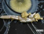 Pendente oro giallo con perla e diamanti | Negri Gioielli Roma 100% Artigianali | handmade jewellery