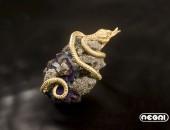 Pendente oro giallo con granato | Negri Gioielli Roma 100% Artigianali | handmade jewellery