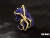 Spilla oro giallo con azzurrite | Negri Gioielli Roma 100% Artigianali | handmade jewellery