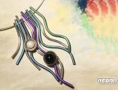 Girocollo argento e titanio con perle e onice | Negri Gioielli Roma 100% Artigianali | handmade jewellery
