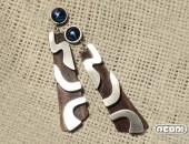Orecchini argento e ebano viola con vetro dicroico | Negri Gioielli Roma 100% Artigianali | handmade jewellery