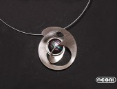 Pendente argento con vetro dicroico | Negri Gioielli Roma 100% Artigianali | handmade jewellery