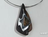 Pendente argento e ebano con opale | Negri Gioielli Roma 100% Artigianali | handmade jewellery