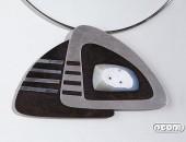 Pendente argento e ebano viola con agata | Negri Gioielli Roma 100% Artigianali | handmade jewellery