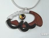 Pendente argento e ebano con vetro dicroico | Negri Gioielli Roma 100% Artigianali | handmade jewellery
