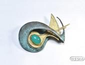 Spilla oro giallo e bronzo con crisoprasio | Negri Gioielli Roma 100% Artigianali | handmade jewellery