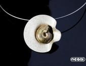 Pendente argento con fossile | Negri Gioielli Roma 100% Artigianali | handmade jewellery