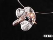 Pendente argento con perla e ematite | Negri Gioielli Roma 100% Artigianali | handmade jewellery
