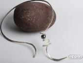 Girocollo argento martellato con ematite | Negri Gioielli Roma 100% Artigianali | handmade jewellery