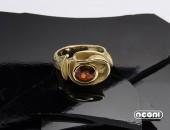 Anello Oro giallo con Spessartina | Negri Gioielli Roma 100% Artigianali | handmade jewellery