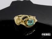 Anello Oro giallo con Smeraldo | Negri Gioielli Roma 100% Artigianali | handmade jewellery