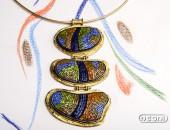 Girocollo con pendente in Oro giallo con Mosaico in vetro | Negri Gioielli Roma 100% Artigianali | handmade jewellery
